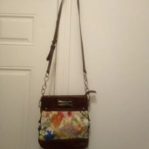 Chaps floral fabric purse with leather trim